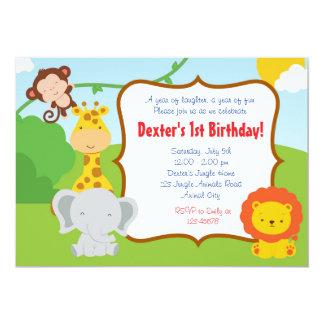 ジャングル動物の誕生日の招待状の動物園動物の男の子 12.7 X 17.8 インビテーションカード