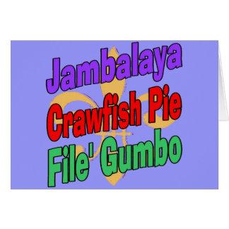 ジャンバラヤのCrawfishパイケージャンの皿 カード