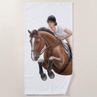 ジャンパーの馬に乗馬のビーチタオルを示して下さい ビーチタオル