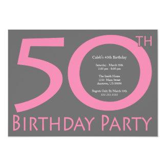 ジャンボは番号を付けます誕生会(暗いピンク/灰色)に カード