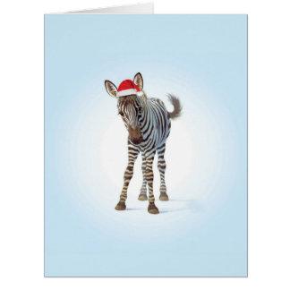 ジャンボクリスマスの動物園のベビーのシマウマのクリスマスカード ビッググリーティーングカード