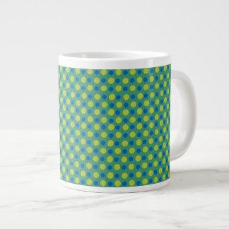 ジャンボコーヒー・マグの、青および緑の水玉模様 ジャンボコーヒーマグカップ