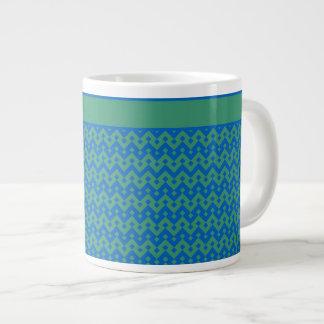 ジャンボコーヒー・マグ、エメラルドおよび青い幾何学的 ジャンボコーヒーマグカップ