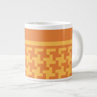 ジャンボサイズのマグ、Dogstoothのオレンジ点検 ジャンボコーヒーマグカップ