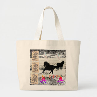 ジャンボトートの野生の馬のコラージュ ラージトートバッグ