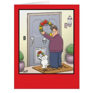 ジャンボ犬のリースのクリスマスカード ビッググリーティーングカード