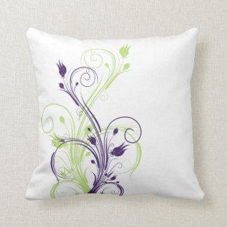 ジャンボ緑、紫色、白い花のつる植物の枕 クッション