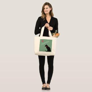 ジャンボI愛猫の水および白く写実的なトート ラージトートバッグ