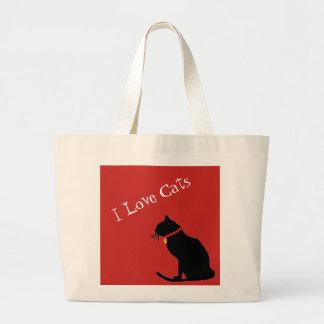 ジャンボI愛猫の赤と白の写実的なトート ラージトートバッグ
