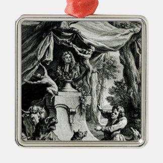 ジャン・ド・ラ・フォンテーヌの寓話的なポートレート メタルオーナメント