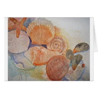ジャージーの海岸の貝殻のマグ カード