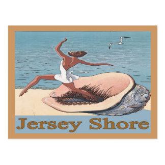 ジャージーの海岸、貝ポスター、 葉書き