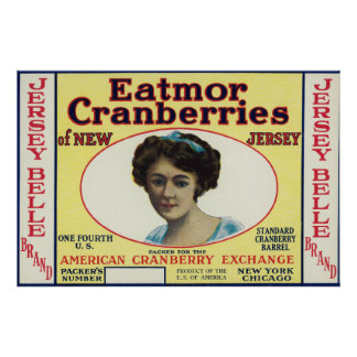 ジャージーの美女のEatmorのクランベリーのブランド・ラベル ポスター