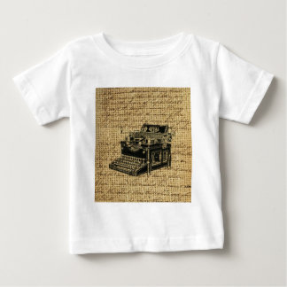 ジャーナリストはバーラップのアンティークのタイプライターの台本を書きます ベビーTシャツ
