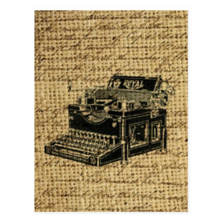 ジャーナリストはバーラップのアンティークのタイプライターの台本を書きます ポストカード
