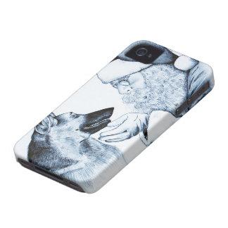ジャーマン・シェパードおよびサンタクロース Case-Mate iPhone 4 ケース