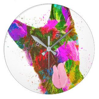 ジャーマン・シェパードのカラフルなポップアート ラージ壁時計