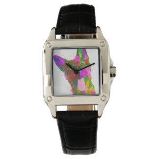ジャーマン・シェパードのカラフルなポップアート 腕時計