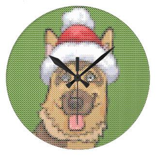 ジャーマン・シェパードのクリスマスのニットパターン ラージ壁時計