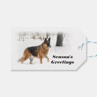 ジャーマン・シェパードのクリスマスのプレゼントのラベル ギフトタグ