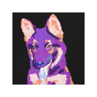 ジャーマン・シェパードの子犬のバックラム キャンバスプリント