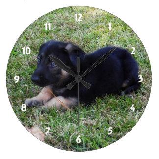 ジャーマン・シェパードの子犬: 柱時計 ラージ壁時計
