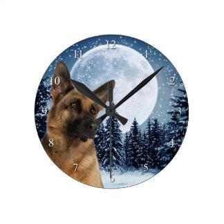 ジャーマン・シェパードの時計 ラウンド壁時計