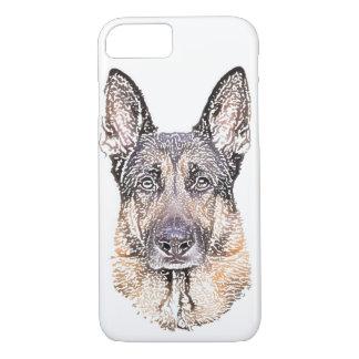ジャーマン・シェパードの犬によって着色されるスケッチのポートレート iPhone 8/7ケース