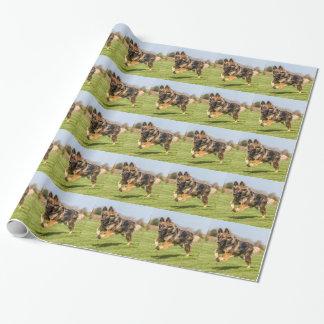ジャーマン・シェパード犬のアルザス人が付いている包装紙 ラッピングペーパー
