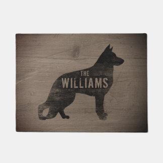 ジャーマン・シェパード犬のシルエットのカスタムの玄関マット ドアマット