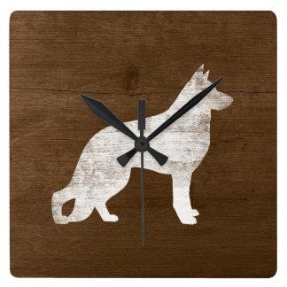 ジャーマン・シェパード犬のシルエット スクエア壁時計