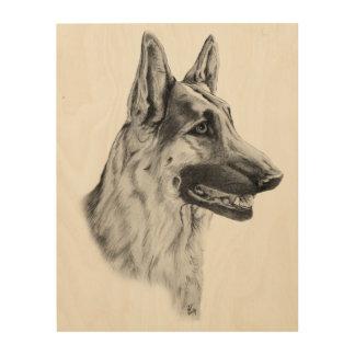 ジャーマン・シェパード犬のポートレート ウッドウォールアート