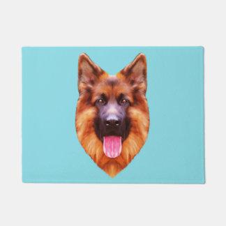 ジャーマン・シェパード犬のポートレート ドアマット