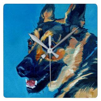 ジャーマン・シェパード犬の柱時計 スクエア壁時計