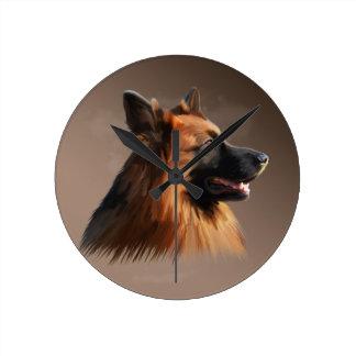 ジャーマン・シェパード犬の水彩画の芸術のポートレート ラウンド壁時計