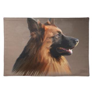 ジャーマン・シェパード犬の水彩画の芸術のポートレート ランチョンマット