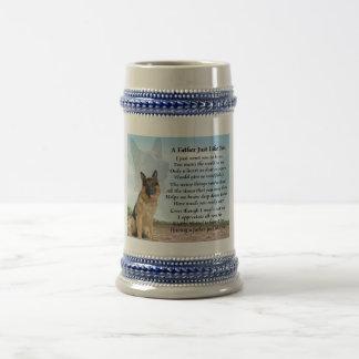 ジャーマン・シェパード犬の父の詩ステイン ビールジョッキ