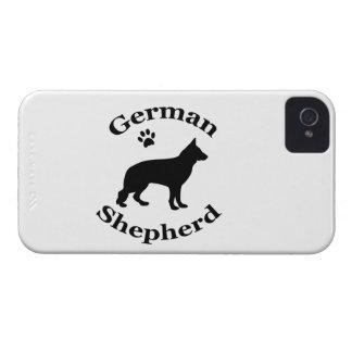 ジャーマン・シェパード犬の黒のシルエットの足のプリント Case-Mate iPhone 4 ケース