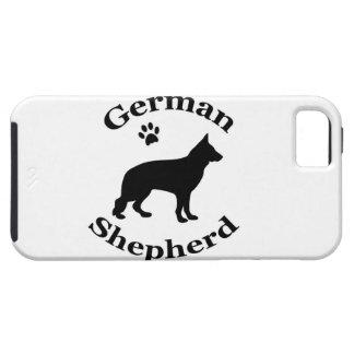 ジャーマン・シェパード犬の黒のシルエットの足のプリント iPhone SE/5/5s ケース