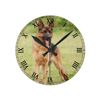 ジャーマン・シェパード犬 ラウンド壁時計