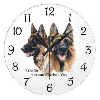 ジャーマン・シェパード犬 ラージ壁時計