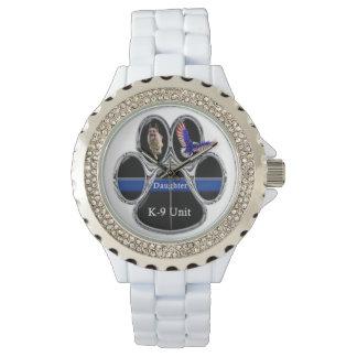 """ジャーマン・シェパードK-9の磨かれたクロム""""娘"""" 腕時計"""