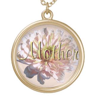 """ジュエリー-ネックレス-最も淡い色のなピンクの《植物》百日草""""母"""" ゴールドプレートネックレス"""