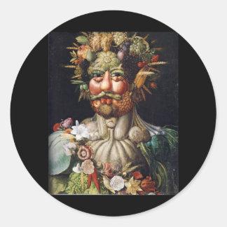 ジュゼッペ・アルチンボルドの野菜人(Vertumnus) ラウンドシール