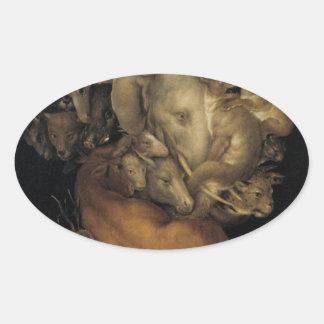 ジュゼッペ・アルチンボルド著地球 楕円形シール