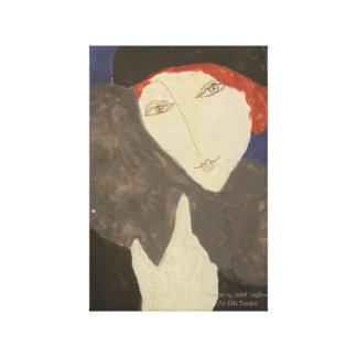 ジュディスLeighton著毛皮のストールのエレガントな女性 キャンバスプリント