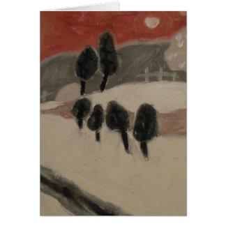 ジュディスLeighton著珊瑚の空との冬の景色 ノートカード