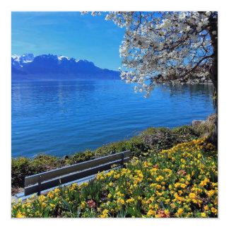 ジュネーブまたはLeman湖、モントルー、Switの春 カード