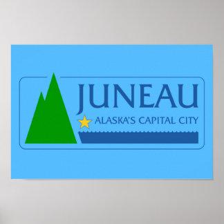 ジュノー都市アラスカの旗の米国アメリカのsymb ポスター