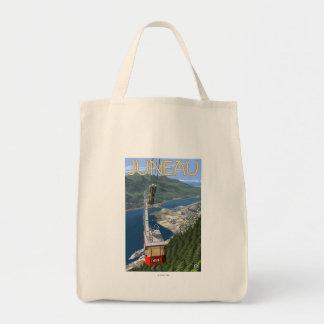 ジュノー、アラスカの上の市街電車ヴィンテージ旅行ポスター トートバッグ